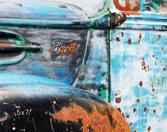 Rusty Ford Flathead V8 Illustration 8x10 Reprint Garage Decor