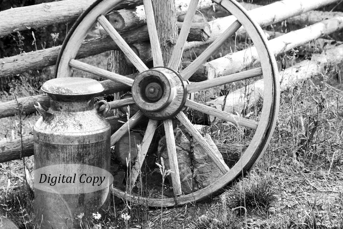 Wagon Wheel Picture Instant Download Digital Copy Printable Black And White Art Country Photo Print Old Rustic Wall Decor 5x7 To 12x18