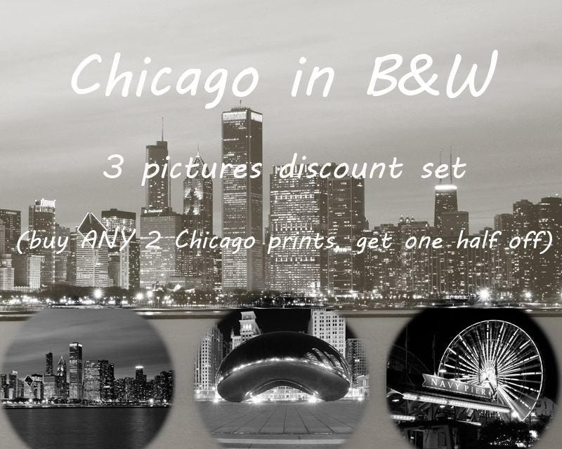Chicago Black And White Art Photography 3 Photo Prints Discount Set Large Paper Or Canvas Picture Wall Decor 8x10 11x14 12x12 16x20 30x45