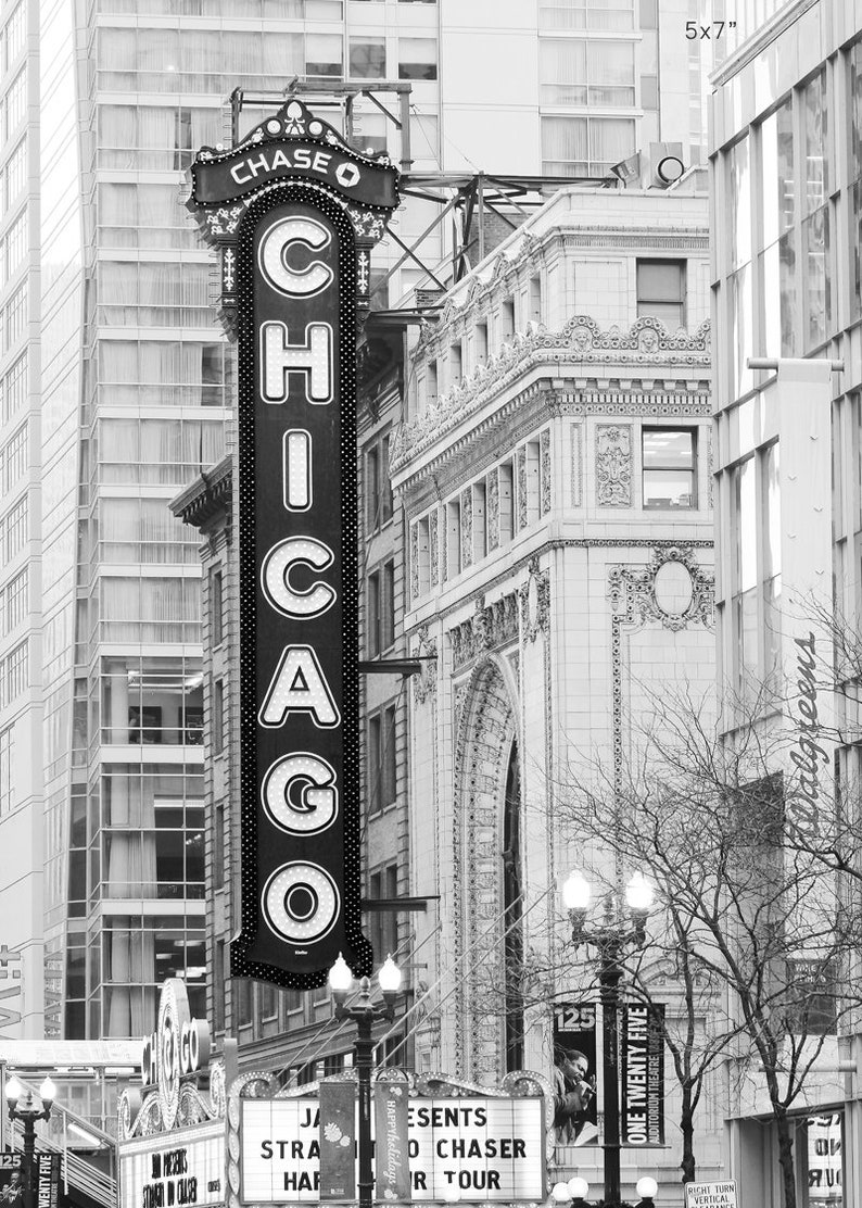 5x7 8x10 to 32x48 inch wall decor black and white city art photography large paper or canvas picture Chicago Theater VERTICAL photo print