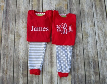 725ed23e6b Personalized Children Christmas Pajamas- Monogrammed Pajamas-Matching  Outfits-Brother Sister Matching Outfits-Matching Sibling Pajamas