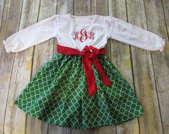 64cbee46a387 Girl Monogrammed Dress-Personalized Girl Dress-Girl Christmas Dress-Holiday  Dress-Matching Sibling Christmas Outfit-Big Sister Little Sister
