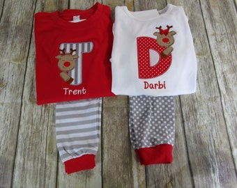5203f12e00 Personalized Children Christmas Pajamas- Reindeer Pajamas-Monogrammed  Pajamas-Matching Outfits-Brother Sister Matching Outfits-Sibling Sets