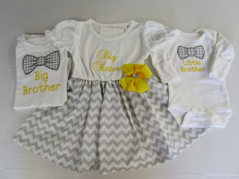 d313786fc5ec9 Big Sister Little Brother Little Sister Big BrotherOutfits-Matching  Siblings Outfits-Big Sister Dress-Mustard Yellow Gray Outfits