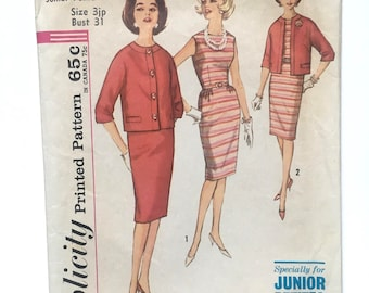 Vintage 1960s Simplicity Women's Dress Pattern no. 4822, Size 3 Junior Petite