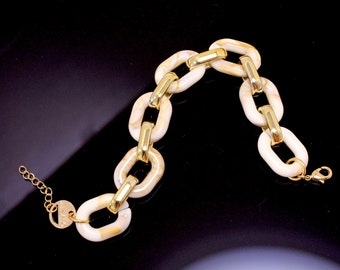 Unisex Chain Link Bracelet In Beige and Gold, Link Cable Chain Bracelet