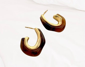 Colorful Acrylic and Gold Earrings, Fashionable Retro Amber Acrylic Earrings