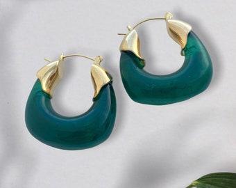 Colorful Acrylic and Gold Earrings, Fashionable Retro Acrylic Earrings
