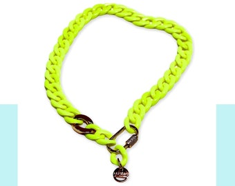 Stylish Fluro and Gold Chain Necklace, Chain Link Fluorescent  Chocker, 4 in 1 design