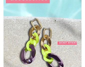 Stylish Chain Link Earrings featuring Fluorescent colors , Neon Green Earrings