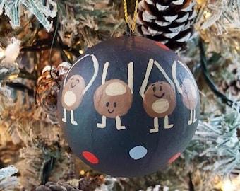 Buckeye ornament, Hand-painted Christmas ornament, Ohio State Christmas Ornament