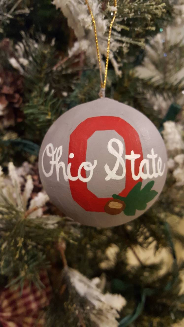 Ohio State Christmas ornament. Hand-painted Ohio State | Etsy