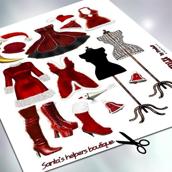 Diy Weihnachtsfrau Bastelbogen Collagesheet Zum Ausdrucken Etsy