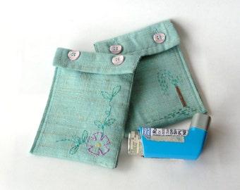 Hand Embroidered Asthma Inhaler Case - Padded Medicine Inhaler Case- Coin Purse MP3 Case - Small Toiletries bag