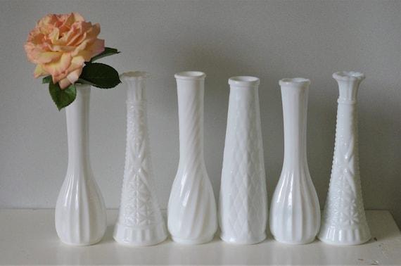 6 White Milk Glass Vases Assorted Styles Of Wedding Bud Etsy
