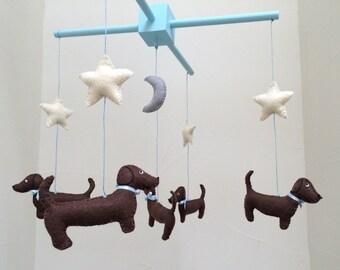 Dachshund Mobile - Baby Mobile - Baby Decor - Nursery Decor - Wiener Dog - Baby Crib Mobile - Shower Gift - Baby Gift