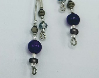 Gray resistor earrings with round purple bead