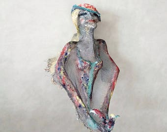 Spring Lady with Bird Wire Mesh sculpture OOAK