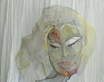 Large metal decor Marilyn Monroe Wall hanging Wire mesh sculpture Boho Modern Acrylic Custom portrait Living room Wabi Sabi