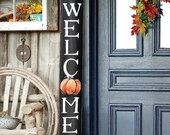 WELCOME SIGN, Fall Rustic Welcome Sign, Vertical front door welcome sign, autumn welcome sign, Fall Decor, Pumpkin Fall welcome sign, Autumn