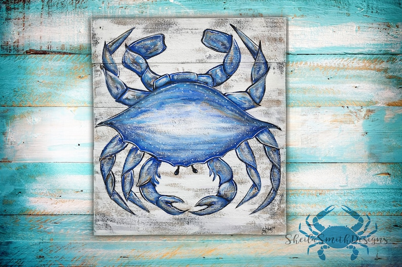 Dark Blue Crab, Hand Painted on Distressed Wood for Coastal Living Decor,  crab on wood, rustic, crab art, crab painting, blue crab decor