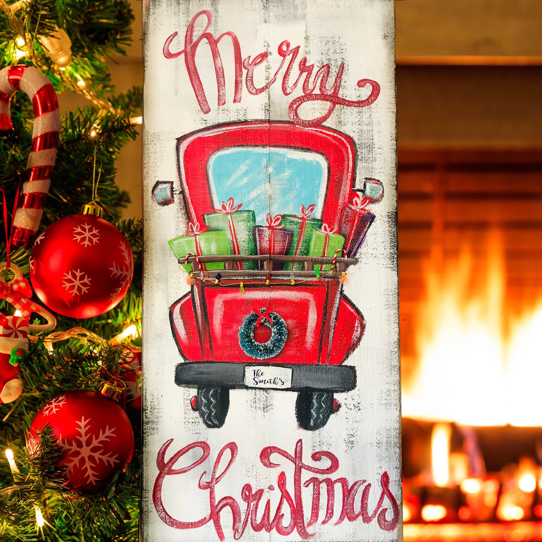 Frohe Weihnachten rot LKW Zeichen Merry Christmas Schild   Etsy