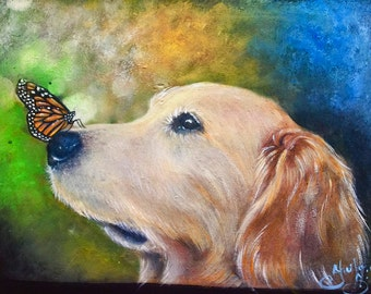 Golden Retriever puppy painting with mystical butterfly