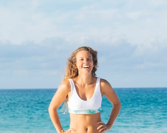 Monstera Block Surf Bikini Top