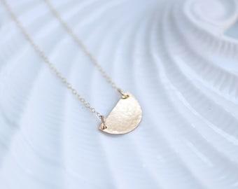 Hammered Half Moon Gold Filled Necklace