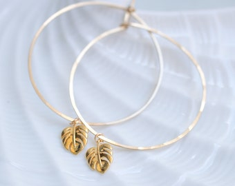 Tropical Monstera Gold Hammered Hoops