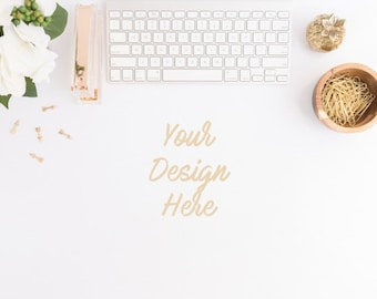 Styled Stock Photography, Top Desktop with Keyboard Mockup, White and Gold Desktop Stock Photo, Gold Styled Desk, Instant Digital Download