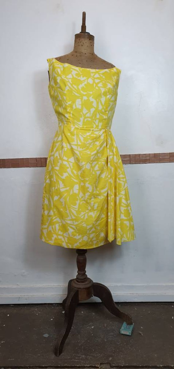 Original 1950s sarong dress bold floral cotton.