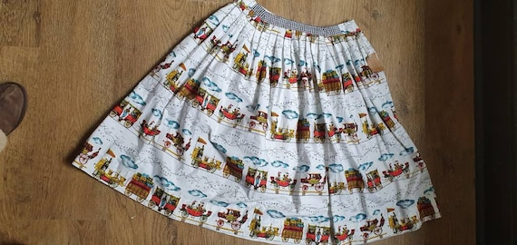 Original 1950s novelty print skirt - image 6