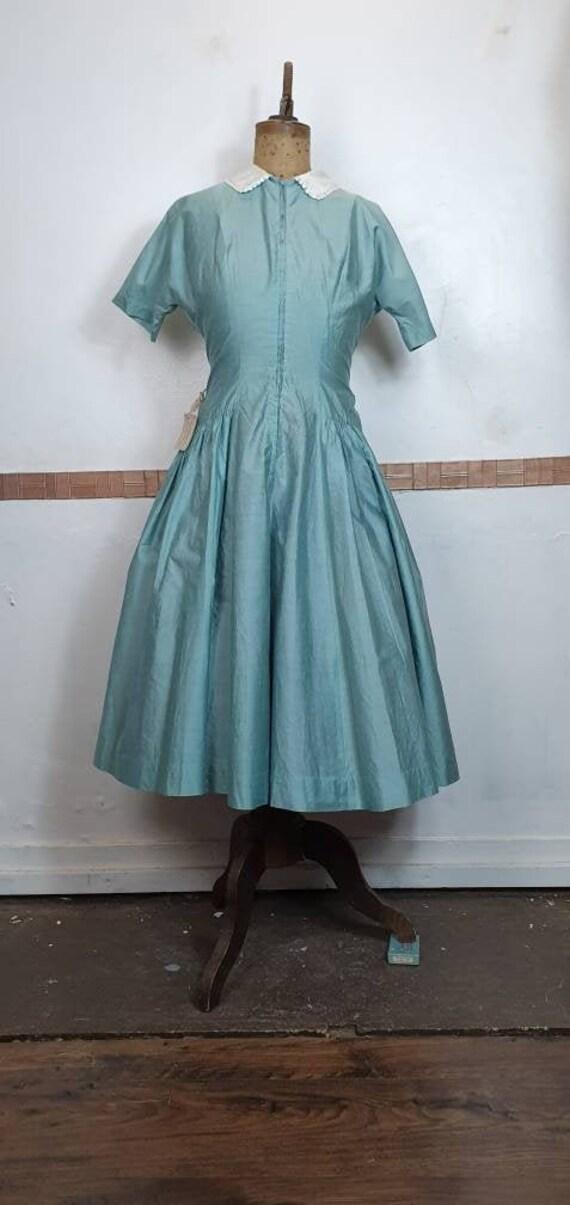 Original 1950s dress silk cotton drop waist