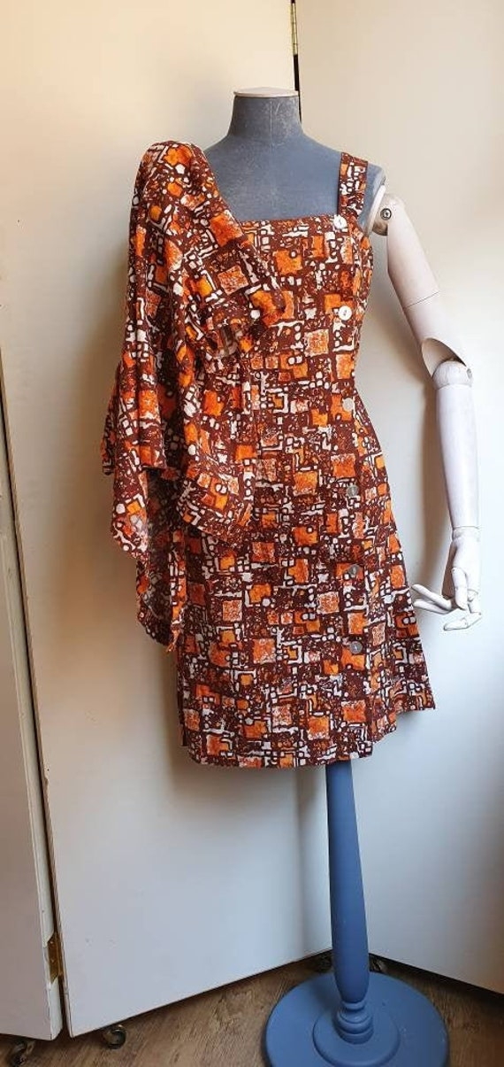 Vintage 1950s abstract print cotton dress