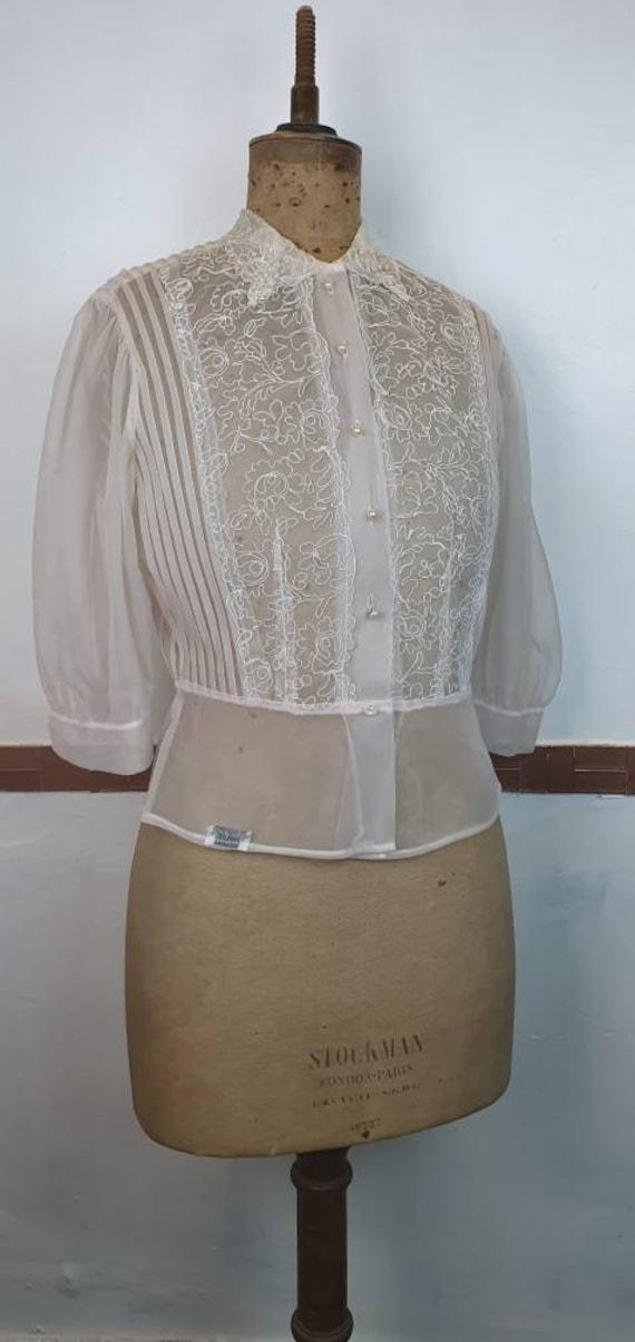 Original 1940s white soutache blouse