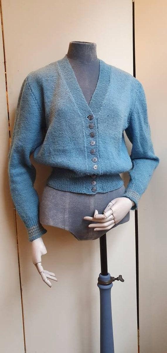 Original 1940s handknitted wool cardigan
