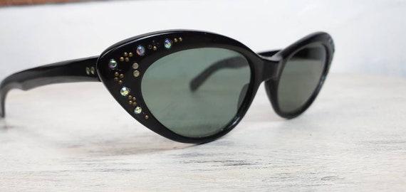 Original 1950s sunglasses black rhinestones