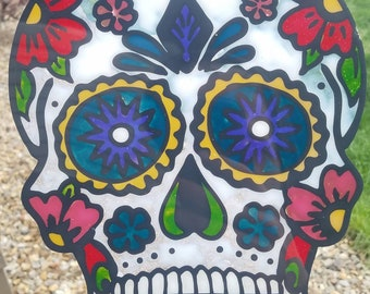 Sugar Skull peel and press window suncatcher