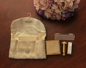 Vintage Dorset Fifth Avenue Brocade Cosmetic Set with Faux Pearls (Compact case, lipstick cases and comb)
