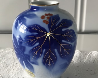 Blue Japanese Aralia Vase (Art Deco)