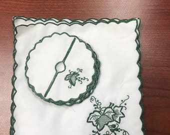 24 PC Set of Vintage Machine Embroidered Cotton Napkins and Coasters (12 of each)-Shipping Included