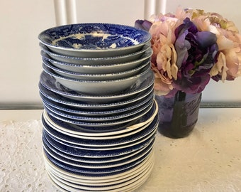 Set of 21 Assorted Blue Willow Saucers and 5 Small Dessert Bowls (26 pcs total)