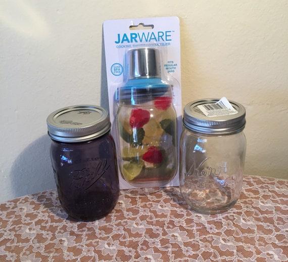 mason jar cocktail shaker set kit etsy. Black Bedroom Furniture Sets. Home Design Ideas