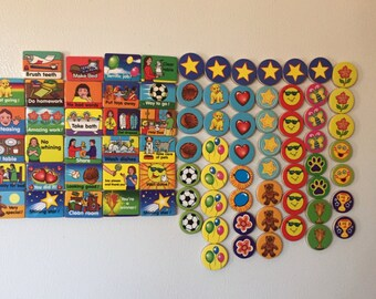 Large set of 82 small wooden kid magnets-Free Shipping