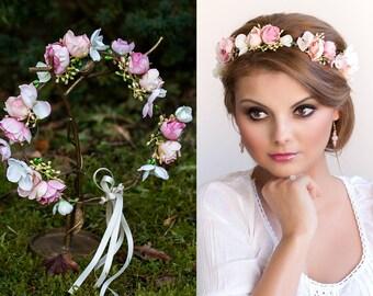 Rose Flower Tiara Etsy