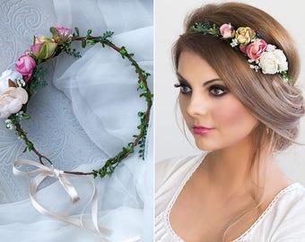 Braut Blumenkranz Haarkranz Hochzeit Haarband Blumen Etsy