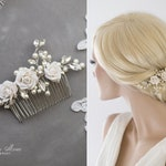 Bridal Vintage Headpiece Freshwater Pearls Haircomb Comb with Pearls & Rhinestones in Ivory, Silver Wired Crystals Wedding Headpiece