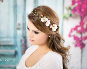 014ad082a2351a Braut Blumenkranz Hochzeit Haarkranz Haarband Blumen Haarschmuck Elfenkrone  Hippie Kopfschmuck Haar Blüten, Stirnband