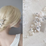 Bridal Hair Comb Vintage Headpiece Pearls & Rhinestones in Ivory, Silver Wired Crystals  Wedding Headpiece Flowers and Leaves Hair Adornment